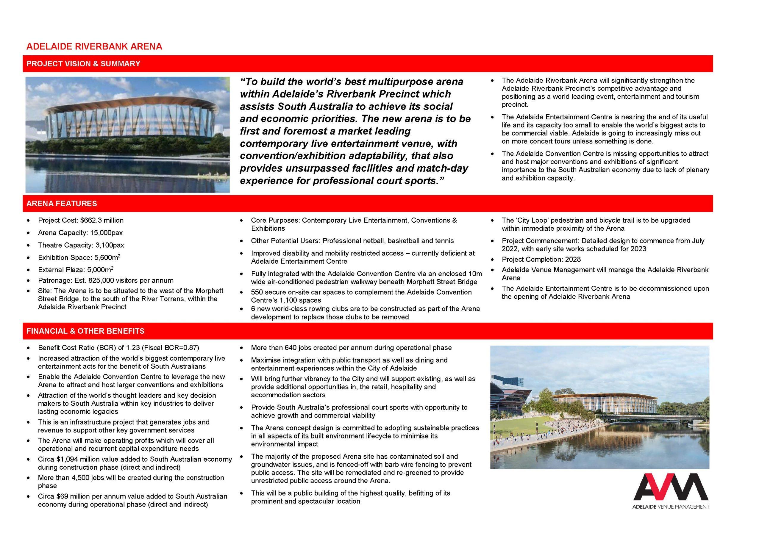 Adelaide Riverbank Arena Fact Sheet